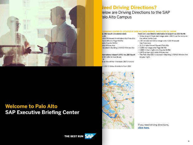 Screenshot of the SAP EBC Palo Alto, CA visitor's guide