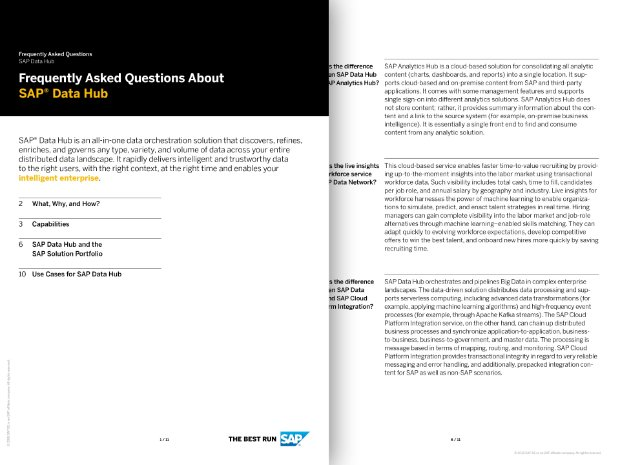 Asset preview for SAP Data Hub FAQ paper