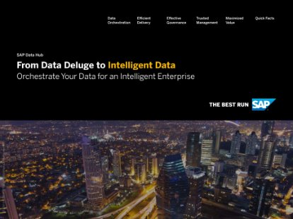 Screenshot of a solution brief discussing how SAP Data Hub unifies data orchestration, pipelining, and governance functionality, enabling agile data sharing and data-driven processes