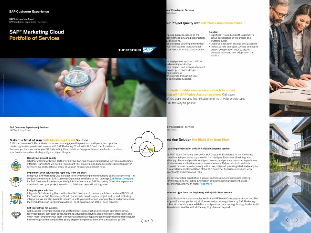 Screenshot from a brochure on expert services for SAP Marketing Cloud