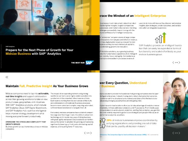 Screenshot of a solution brief on growing your SME with SAP Analytics solutions