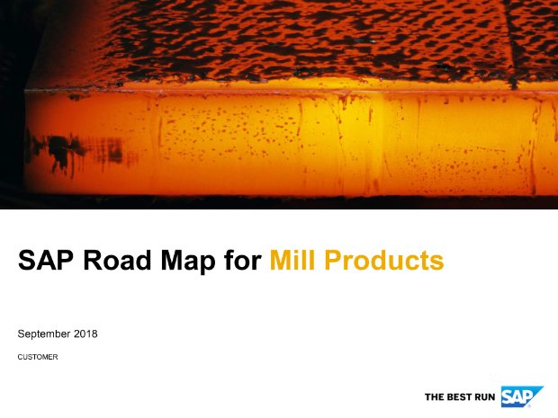Screenshot from the mill products road map