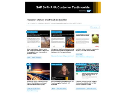 Image of the SAP customer testimonials page
