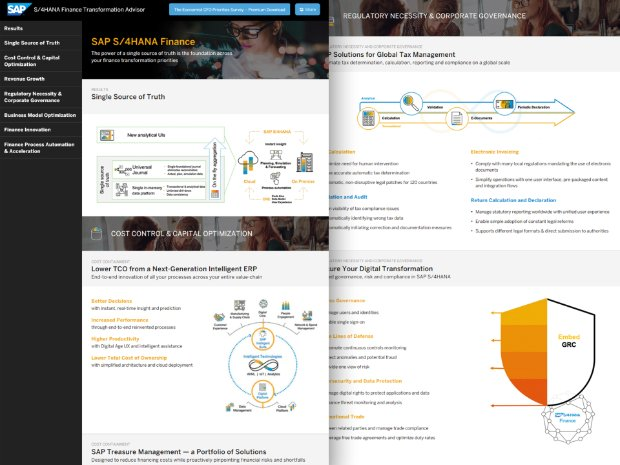 Image of the Intelligent Finance Transformation advisor tool