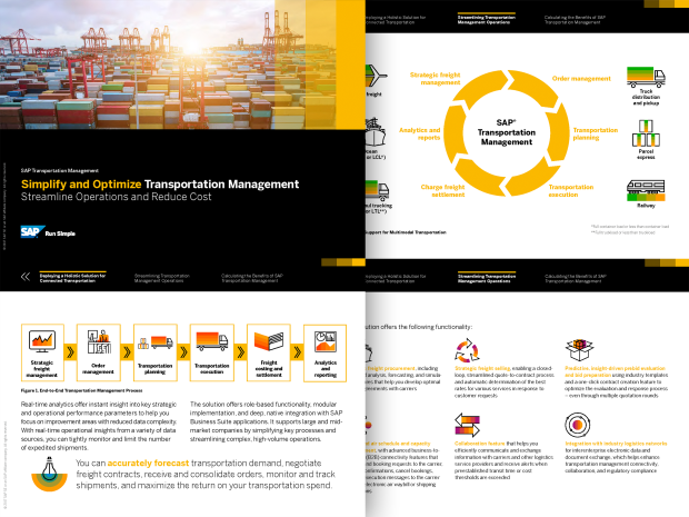 Screenshot of the Simplify and Optimize Transportation Management brochure
