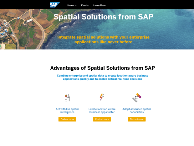 Image of the spatial solutions web page