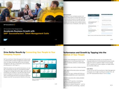 Screenshot of a paper explaining the business benefits of the SAP SuccessFactors Talent Management package