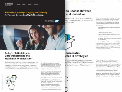 Image of solution brief detailing the benefits of integrating SAP S/4HANA and SAP Cloud Platform