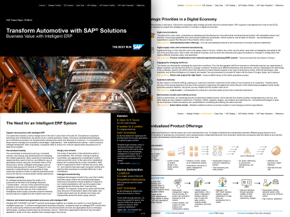 A screenshot of a paper on SAP S/4HANA and the automotive industry