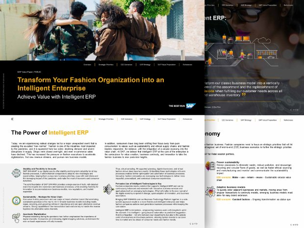 Screenshot of an SAP Value Paper on transforming fashion and vertical business with SAP S/4HANA and SAP Leonardo