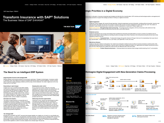 Screenshot of a white paper on the business value of SAP S/4HANA