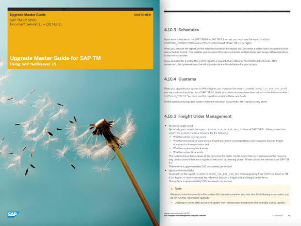Image of the asset detailing the process, tools, and documentation for upgrading SAP Transportation Management