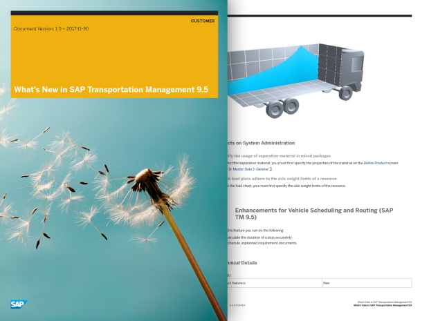 Captura de tela de um documento resumindo o que há de novo na versão mais recente do SAP Transportation Management