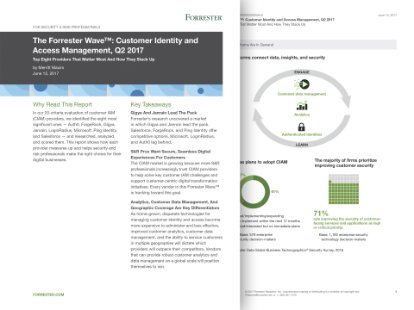 Screenshot from a Forrester report identifying SAP leadership in CIAM