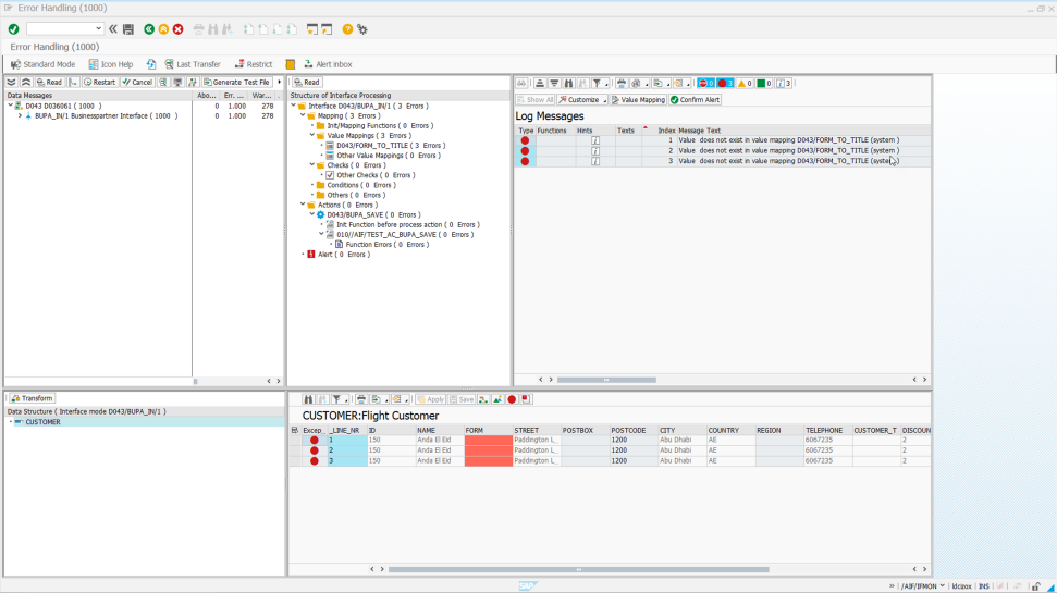 Screenshot of the SAP Application Interface Framework tool being used by a company to manage application interfaces from a single, centralized location