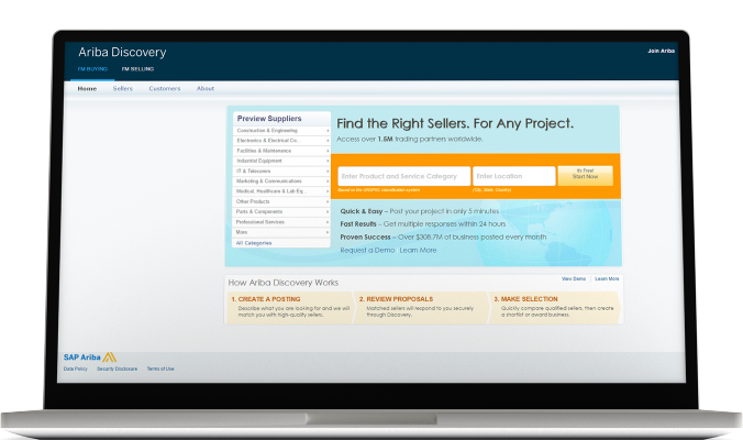 Screenshot of the SAP Ariba Discovery solution in action.