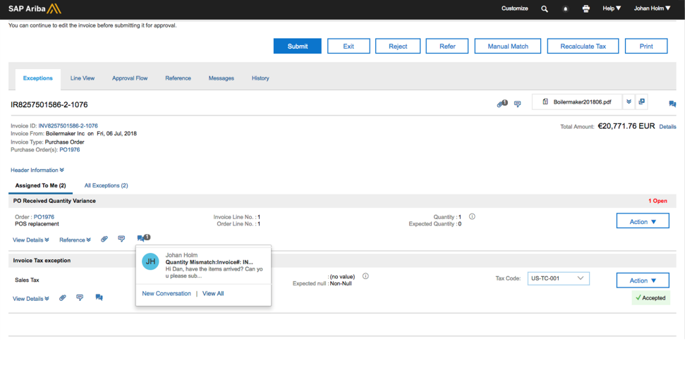 Screenshot of the SAP Ariba Invoice Management solution in action.