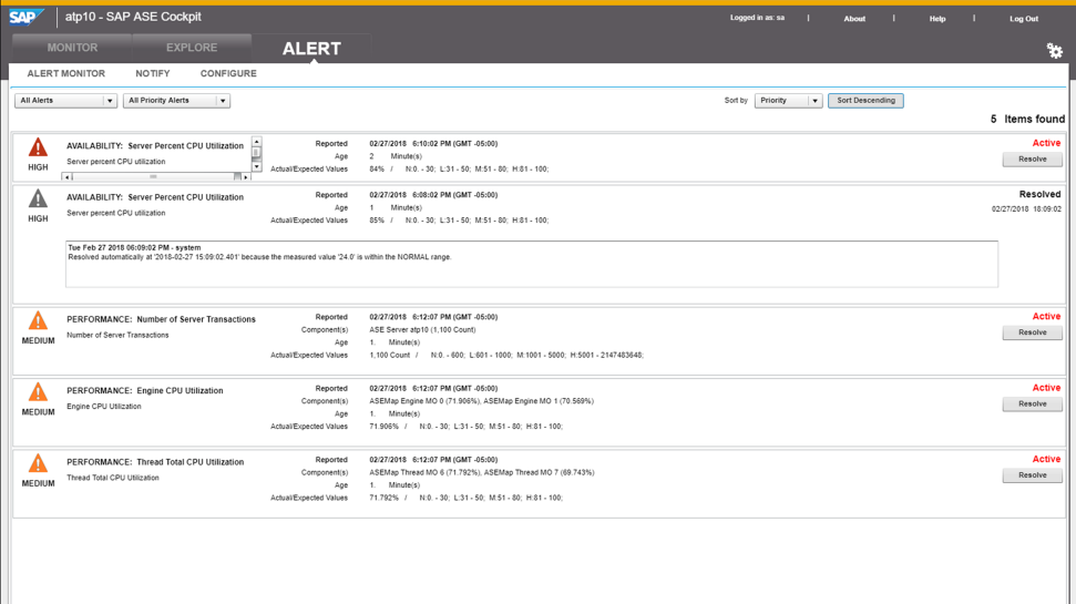 Screenshots of SAP ASE software