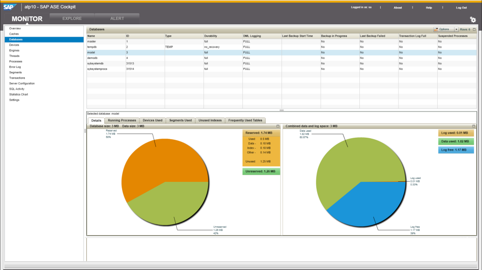 Screenshot of SAP Adaptive Server Enterprise software