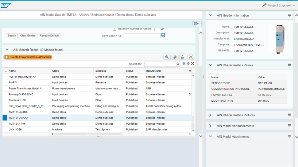 Screenshot of SAP Asset Information Workbench by Utopia in action