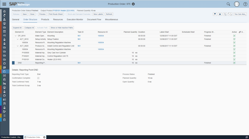 Screenshots of supply chain management capabilities in SAP Business ByDesign