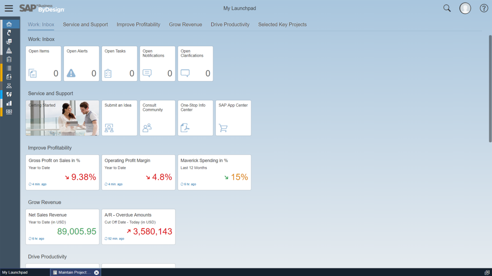 Screenshot of SAP Business ByDesign in action for mid-market business