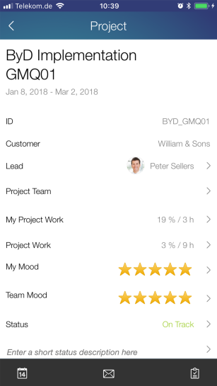 Screenshots of project management capabilities in SAP Business ByDesign