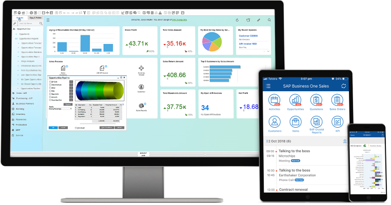SAP's ERP software for small and medium business (SMB) displayed on devices