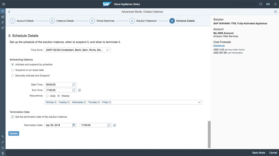 Screenshot of SAP Cloud Appliance Library software