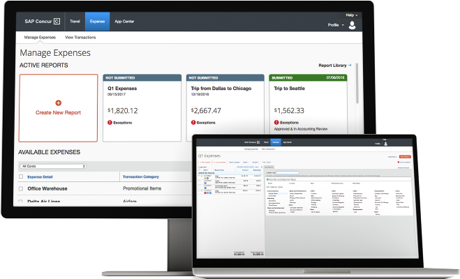 Image of Concur Expense being used for travel and expense management