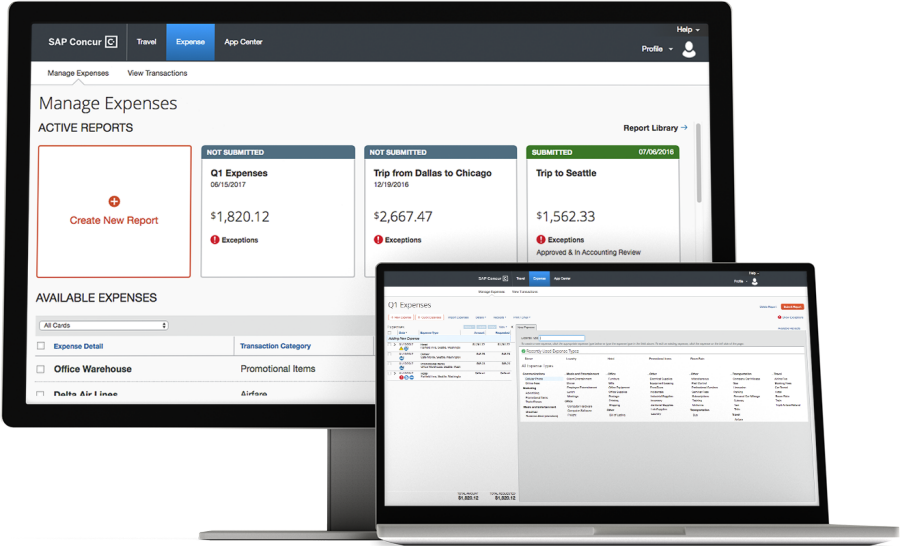 screenshot of Concur Expense
