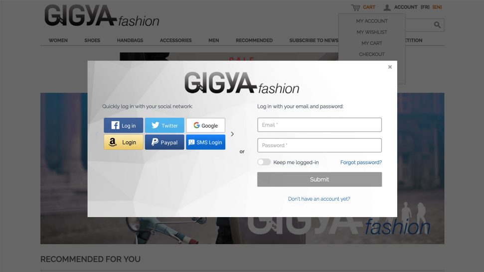 Screenshot of a Gigya create an account form using customer data management software