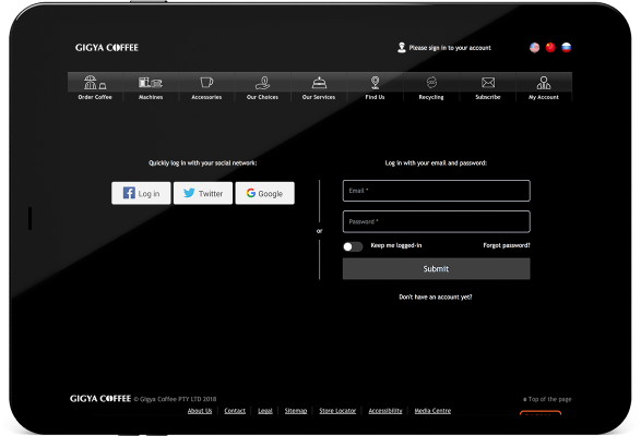 Screenshot of a secure Web site login page on a tablet