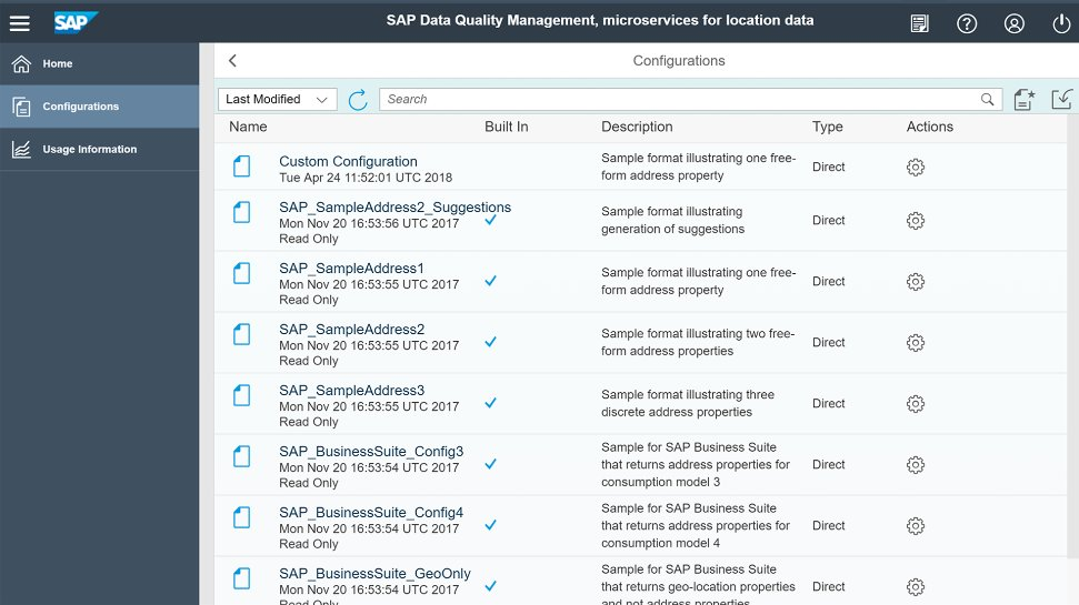 Screenshots of SAP Data Quality Management, microservices for location data, being used by a company to improve the quality of location data used in its processes