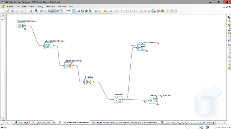 Screenshot of the data integration capabilities for SAP Data Services software