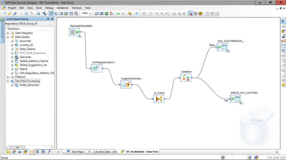 Screenshot of the text data processing capabilities for SAP Data Services software