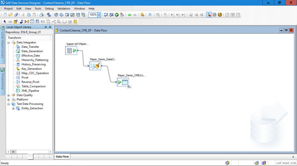 Screenshot of the ETL processes and tools available with SAP Data Services software