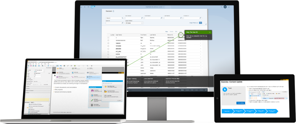 Image of the SAP Enable Now solution in action.