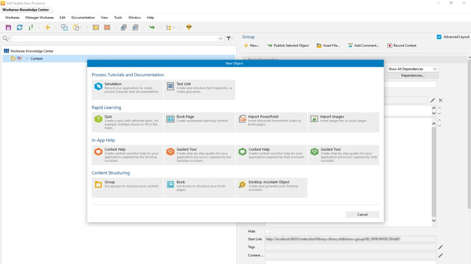 Screenshot of SAP Enable now in use