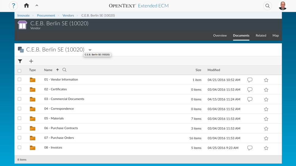 Screenshot of the SAP Extended Enterprise Content Management application by OpenText in action