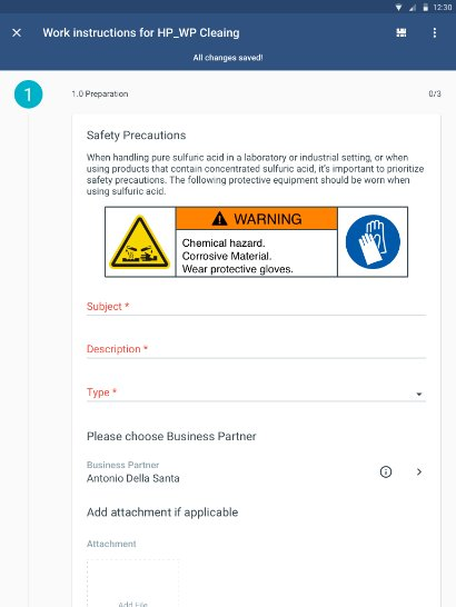 A mobile view of work instructions in SAP Field Service Management