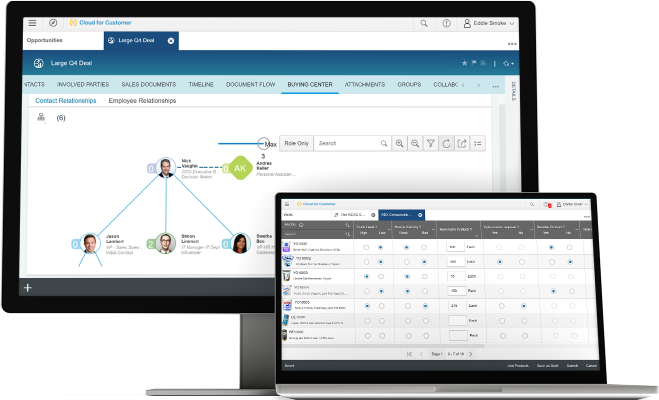 Screenshot of SAP Hybris Sales Cloud, sales management software