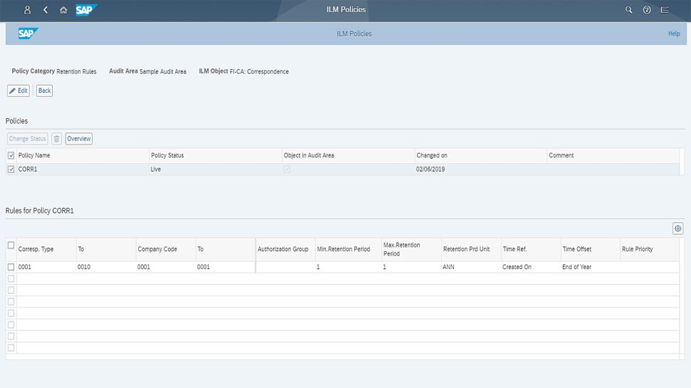 Screenshot of SAP Information Lifecycle Management