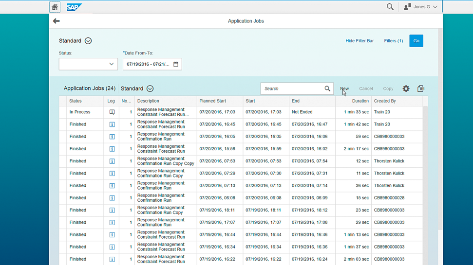 Screenshot of SAP Integrated Business Planning