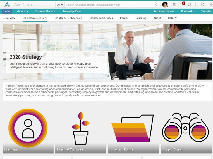 Captura de pantalla del software SAP Jam Collaboration
