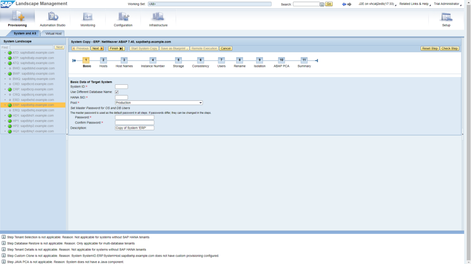 Screenshots of SAP Landscape Management being used by a company to automate and simplify the management of hybrid IT environments