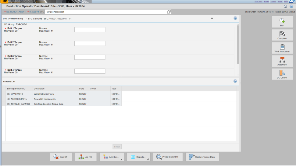 Screenshot of SAP Manufacturing Execution