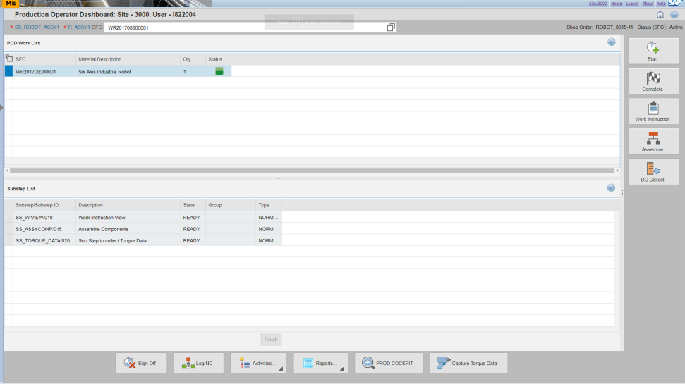 Screenshot of SAP Manufacturing Execution software in use