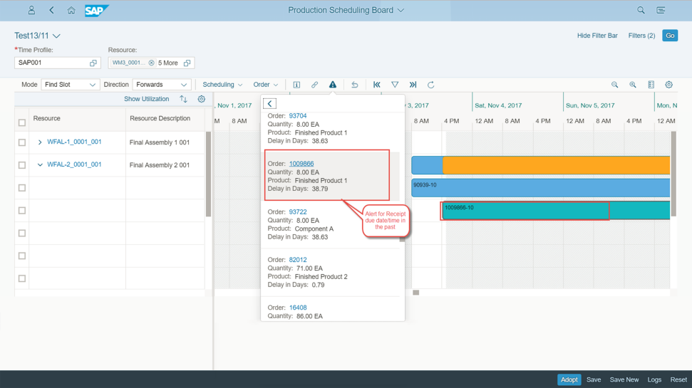 Screenshot of the SAP S/4HANA Manufacturing solution for planning and scheduling