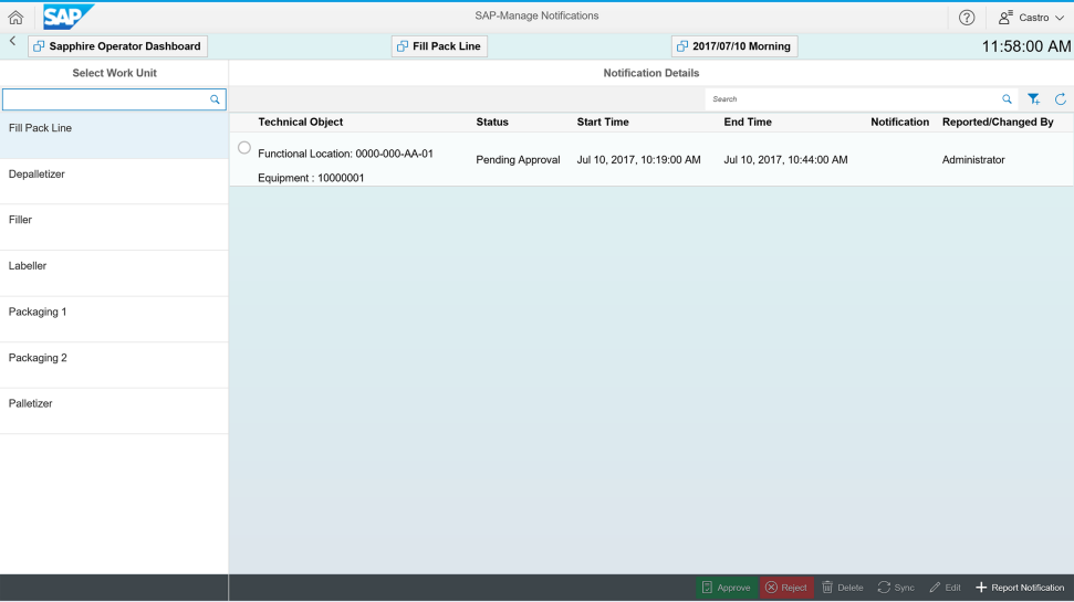 Screenshot of SAP Manufacturing Integration and Intelligence